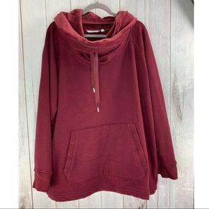 ATHLETA Red/Maroon Soft Comfy Cowl Neck Sweatshirt